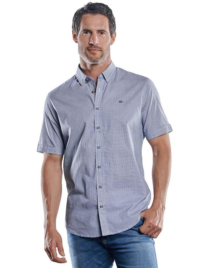 Engbers Kurzarmhemd mit Stretch-Anteil und dezenten Kontrastdetails, Royalblau