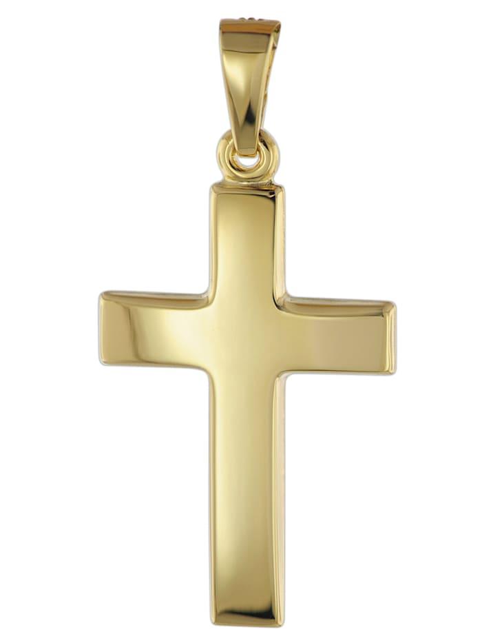 trendor Kreuz Anhänger für Damen und Herren 585 Gold 21 mm, Goldfarben