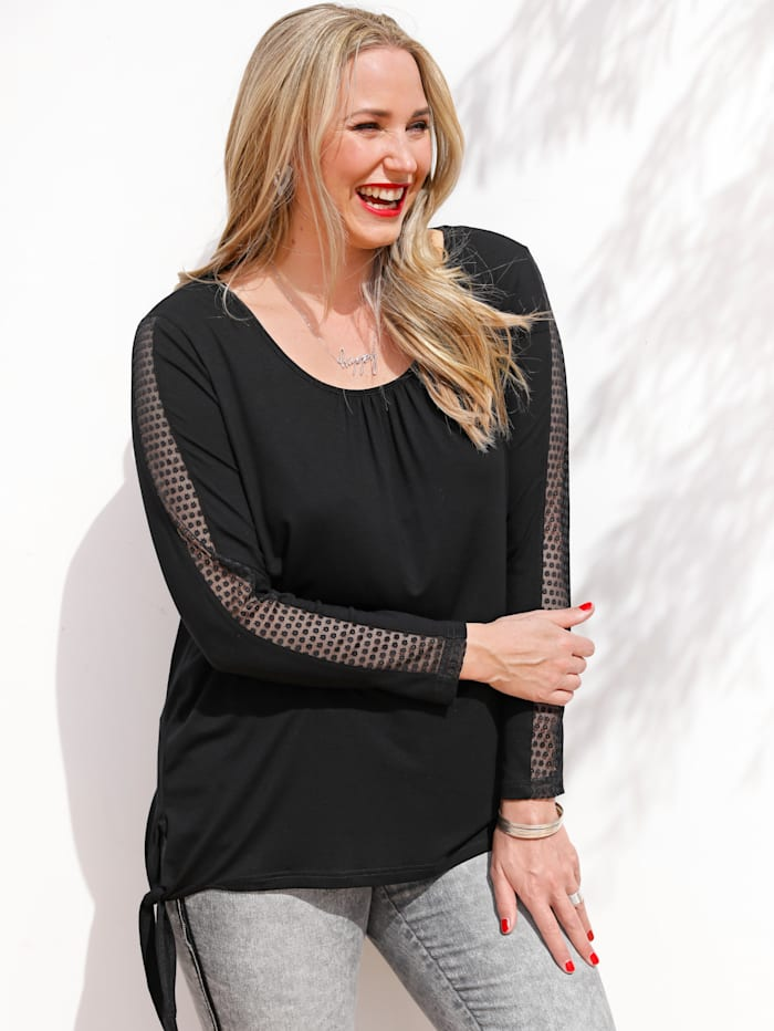 MIAMODA Shirt mit leicht transparenter Spitze an den Ärmeln, Schwarz