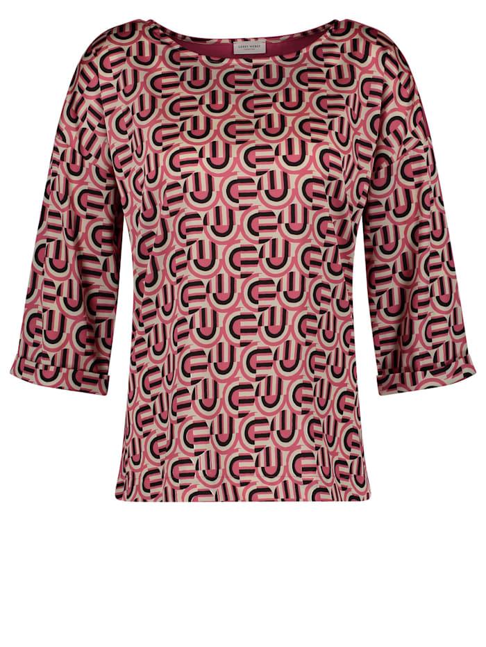 Gerry Weber 3/4 Arm Shirt mit Materialpatch, Ivory/ Peony/ Schwarz Druck