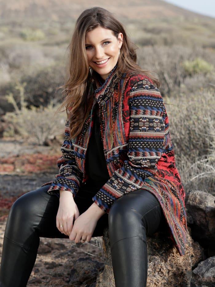 Sara Lindholm Robe manteau van een materialenmix, Multicolor