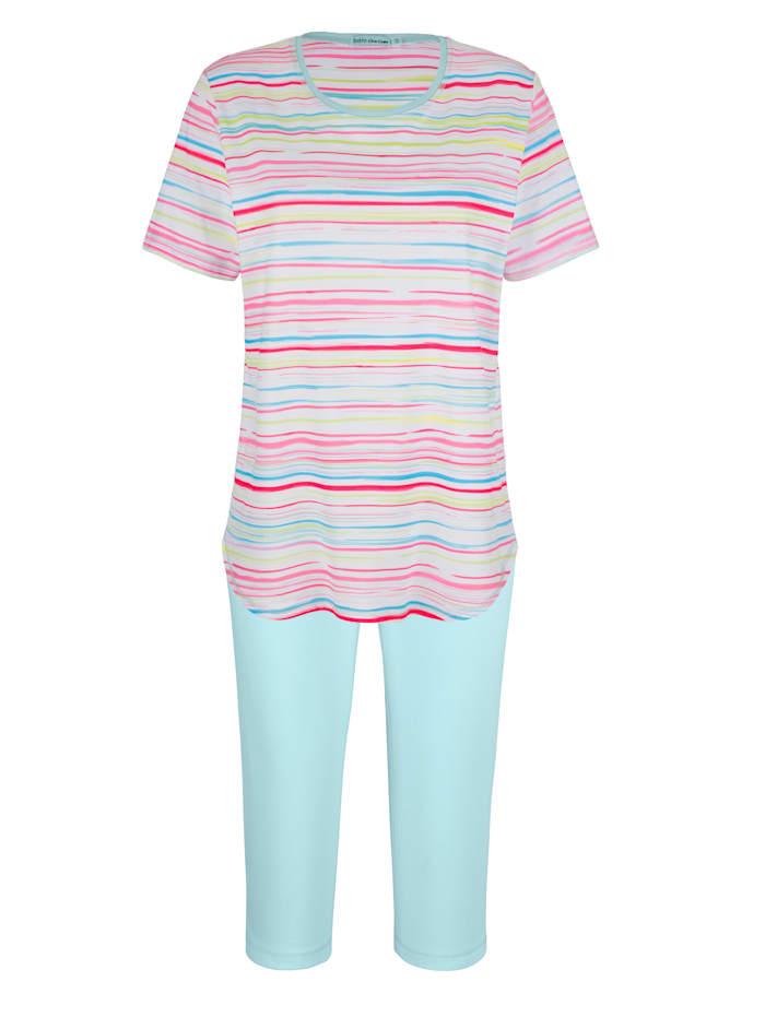 MONA Schlafanzug in hübschem Ringeldessin, Türkis/Weiß/Pink