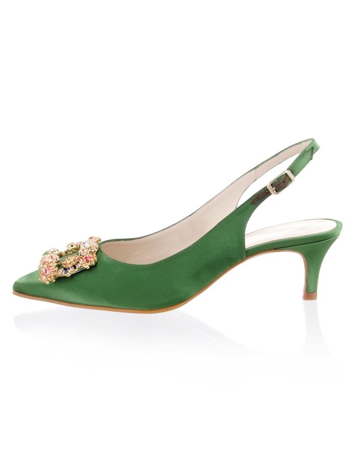 Alba Moda Pumps aus hochwertigem Satin in Slingform, Grün