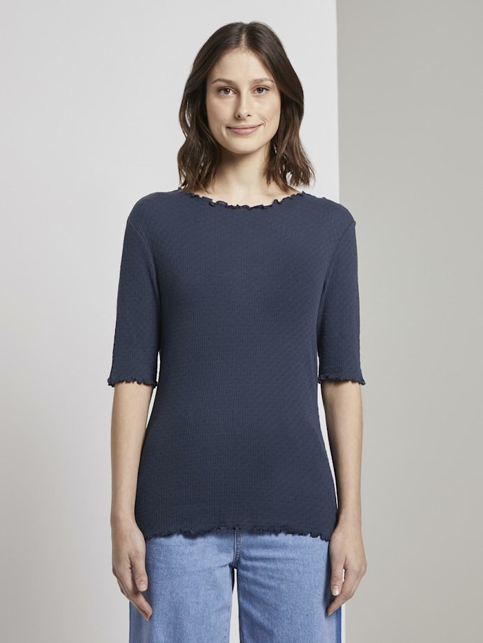 Tom Tailor Denim T-Shirt mit Lochmuster, Real Navy Blue
