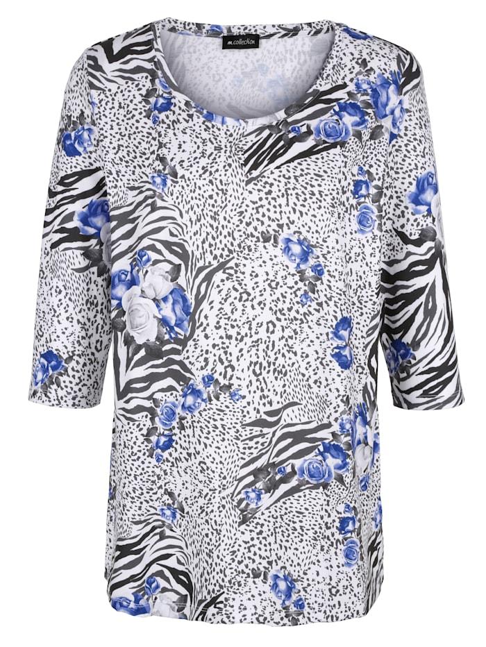 m. collection Shirt rundum mit Blumendruck, Grau/Blau