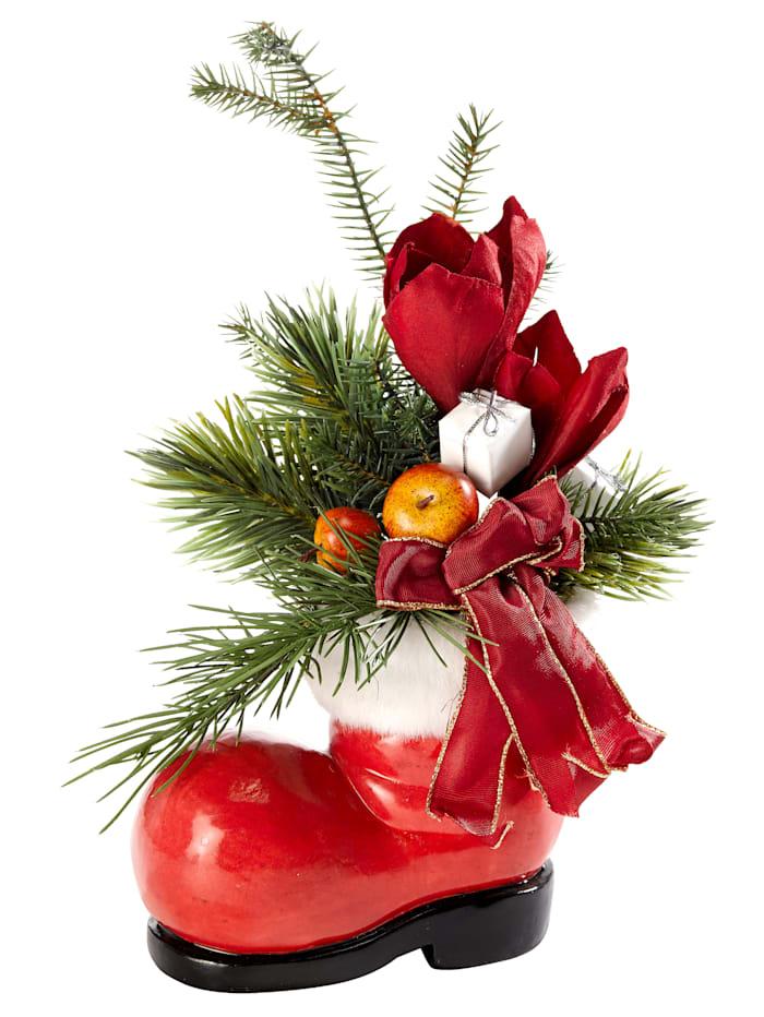 Kerststukje met amaryllis in schoen