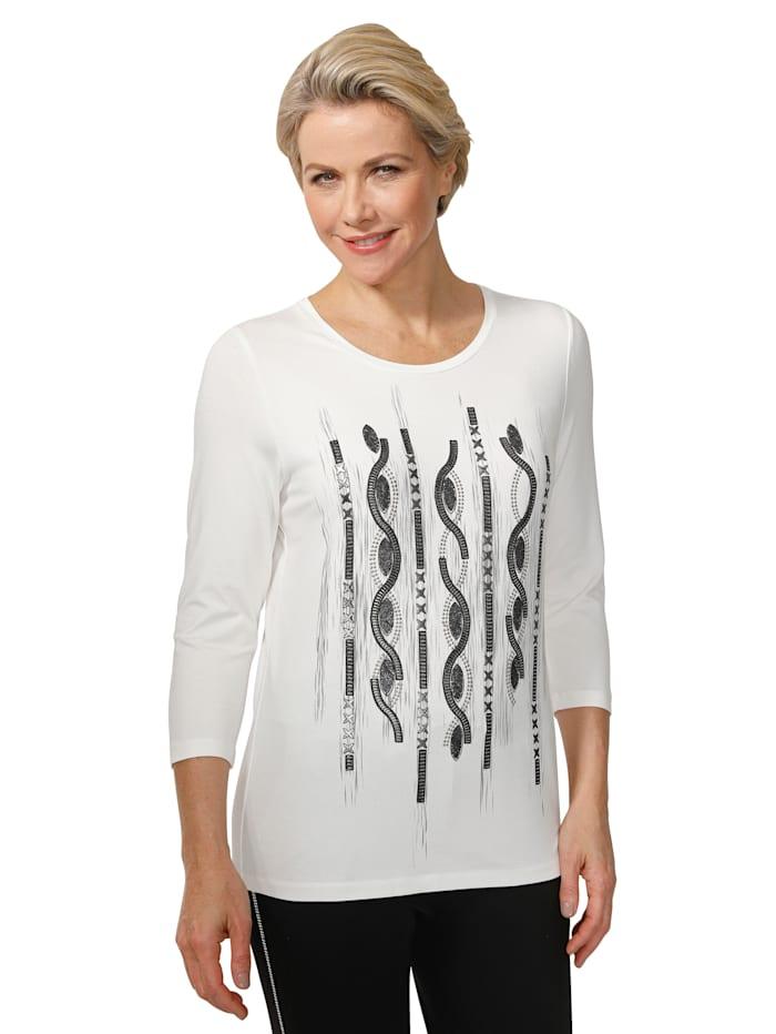MONA Shirt mit platziertem Druck, Weiß/Schwarz