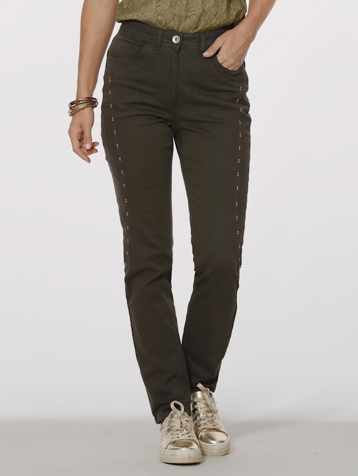 MONA Trousers with beaded embellishments, Olive