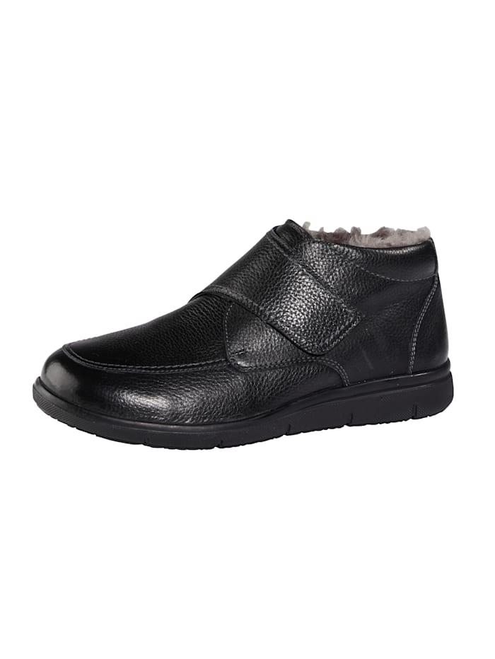 Solidus Klittenbandschoen van bijzonder zacht hertenleer, Zwart