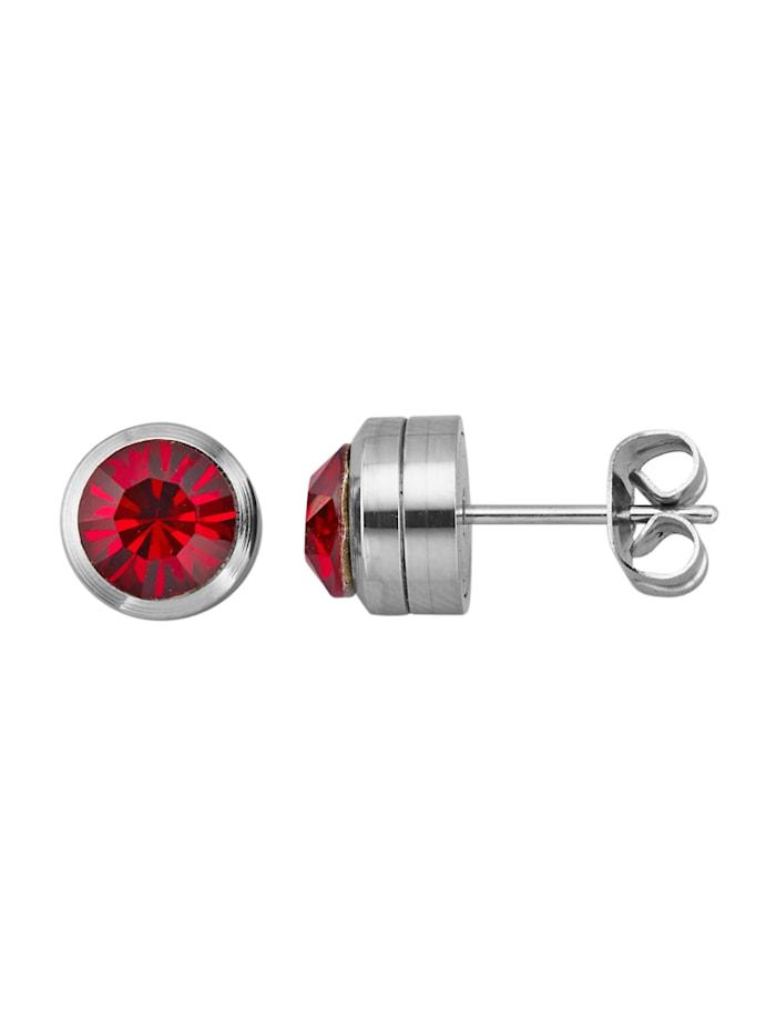 Magnetic Balance Ohrstecker, Edelstahl, Rot