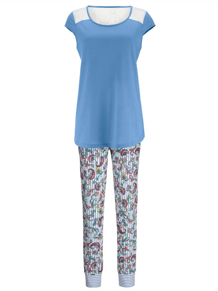 Schlafanzug mit floraler Spitze