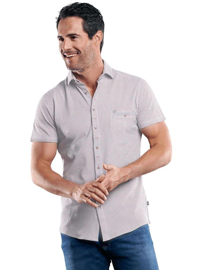 Engbers Baumwollhemd mit Minimal-Druck, Rubinrot