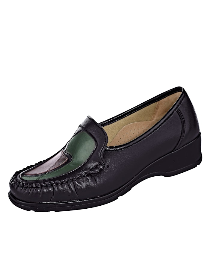 Naturläufer Slipper obuv s typickým mokasínovým šitím, Čierna