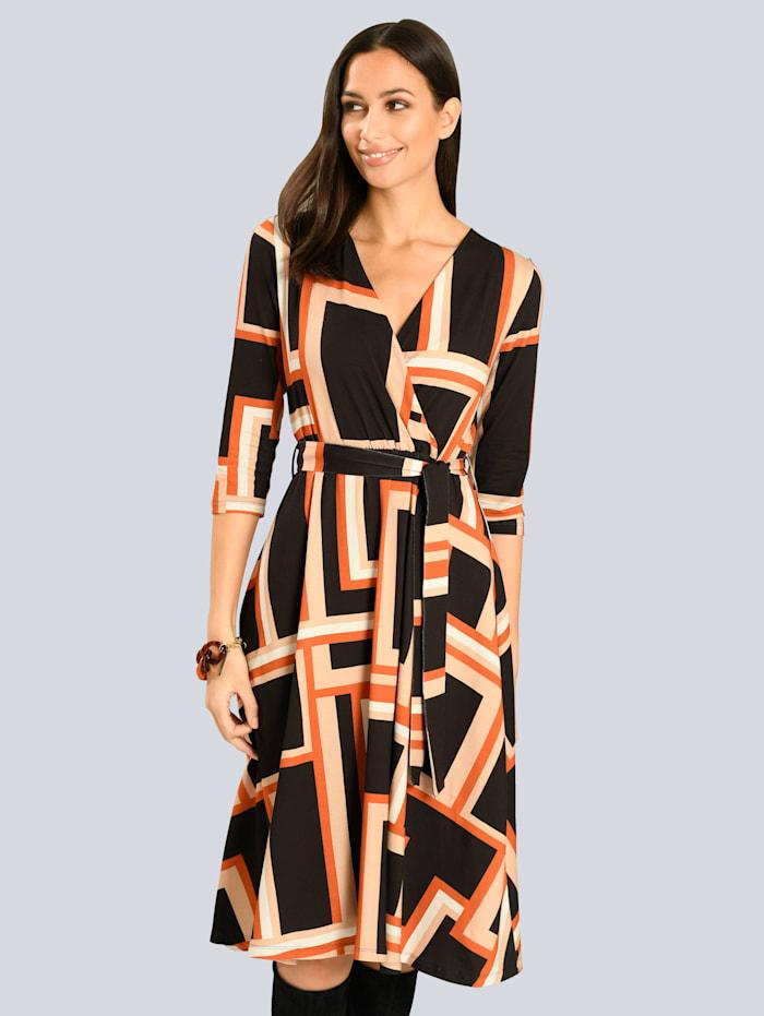 Alba Moda Kjole i omslagsmodell, Svart/Oransje