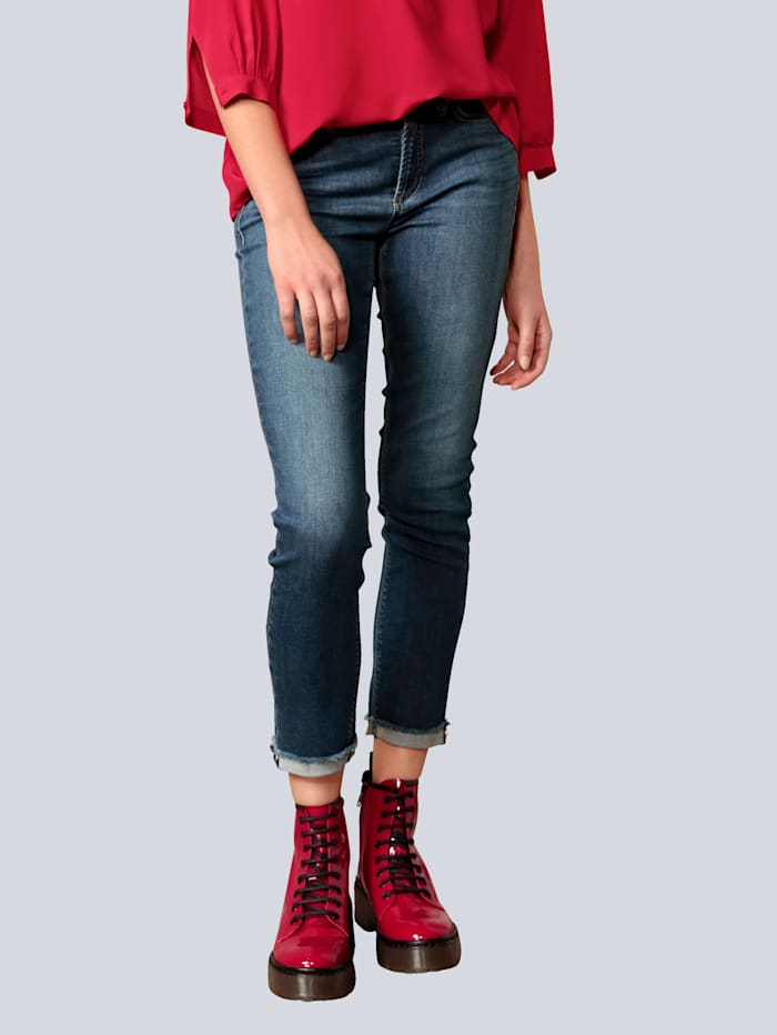 CAMBIO Jeans mit Zierniete am Saum, Blue stone