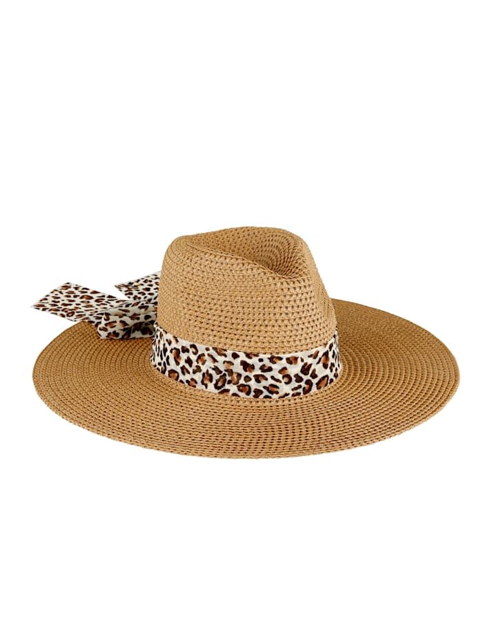Straw hat with detachable scarf