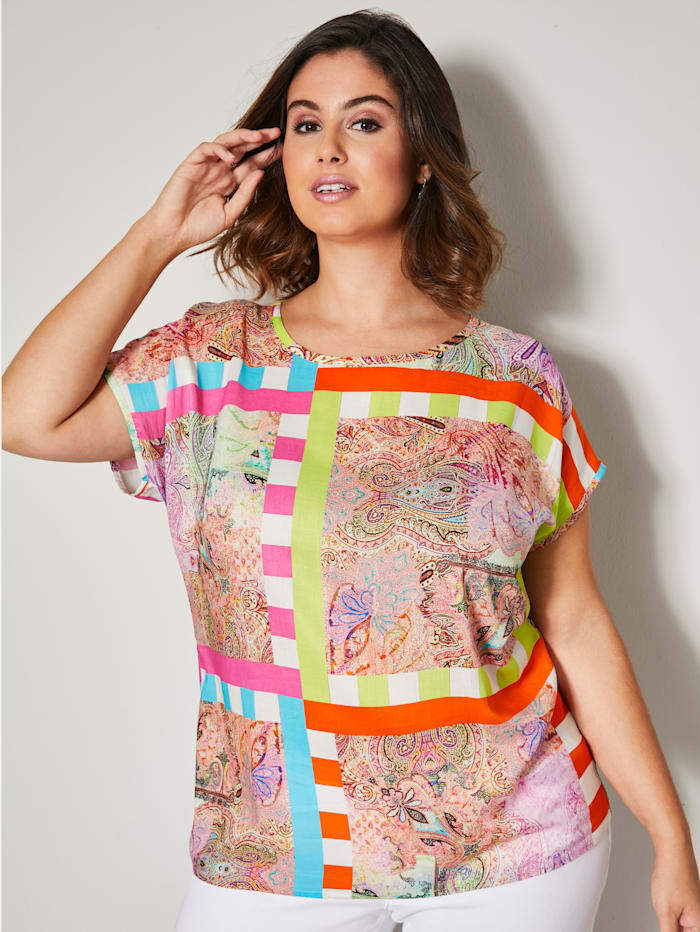Blouse met patchworkdessin
