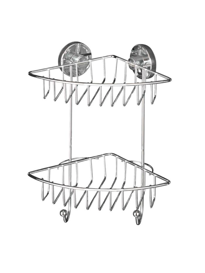 Wenko Vacuum-Loc® Eckregal Bari 2 Etagen, Befestigen ohne bohren, Chrom
