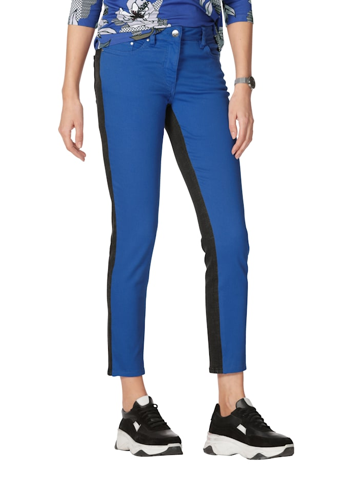 AMY VERMONT Jeans in patchworklook, Antraciet/Royal blue