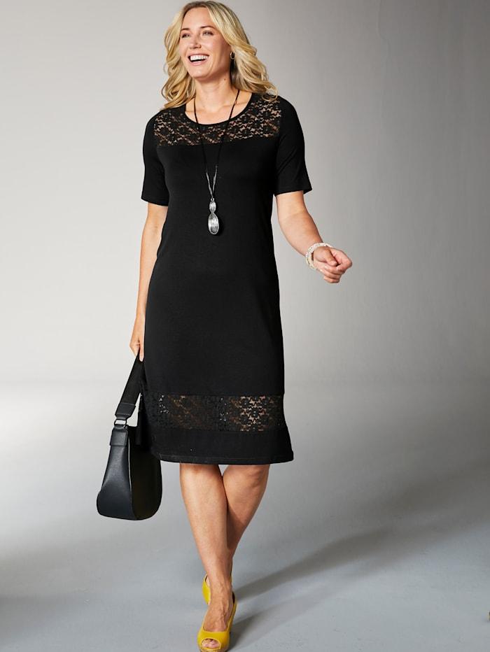MIAMODA Jerseykleid mit transparentem Spitzeneinsatz, Schwarz