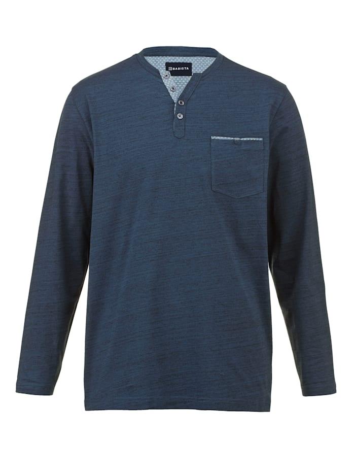 BABISTA T-shirt col tunisien en coton mélangé facile d'entretien, Bleu