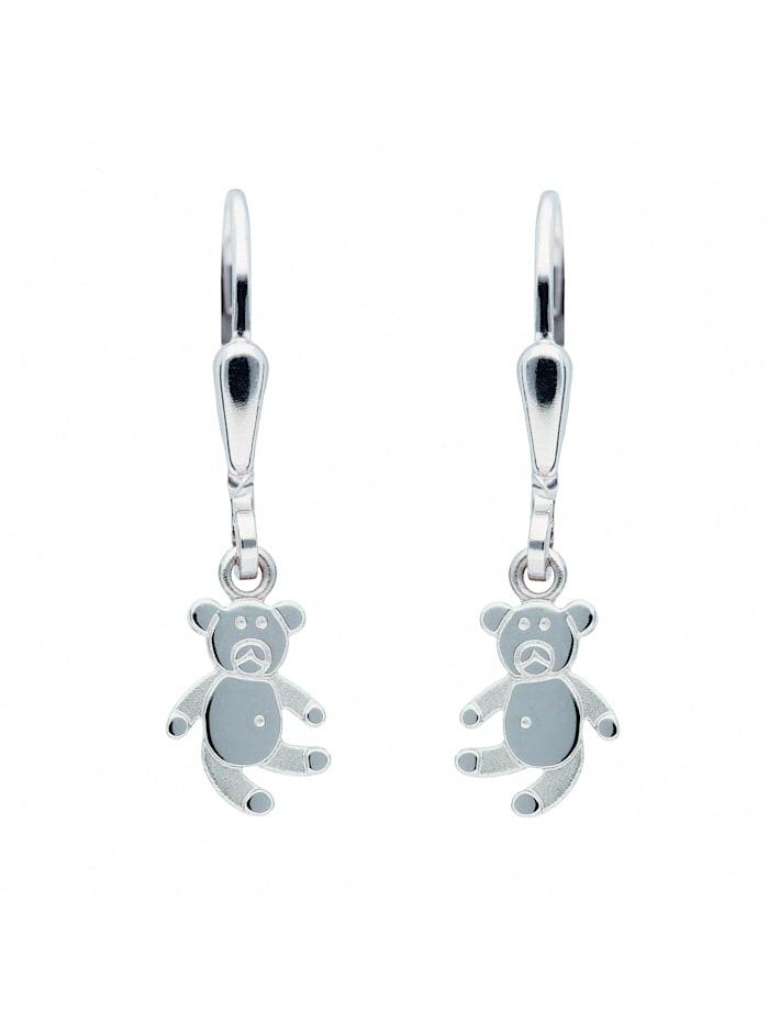 1001 Diamonds Damen Silberschmuck 925 Silber Ohrringe / Ohrhänger Bär, silber
