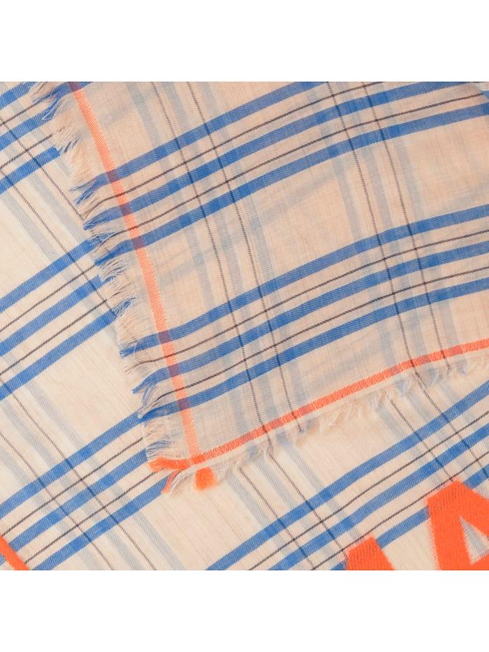 Karo-Schal mit dekorativer Leuchtschrift