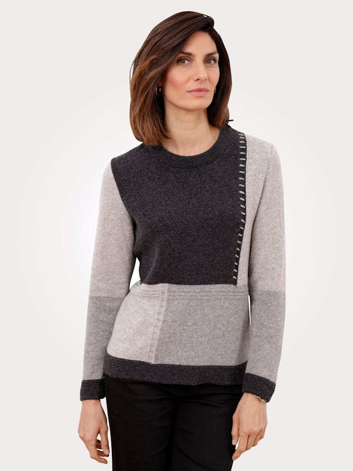 MONA Pull-over en pur lambswool, Gris clair/Gris