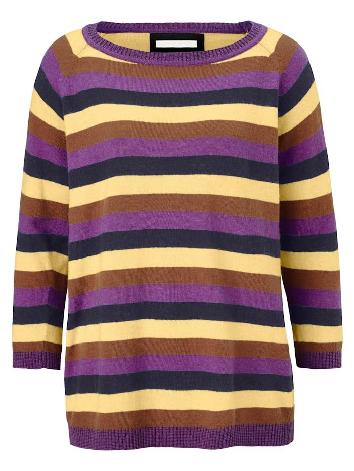 REKEN MAAR Pullover Mit Multicolor-Ringel, Retro-Look, Multicolor