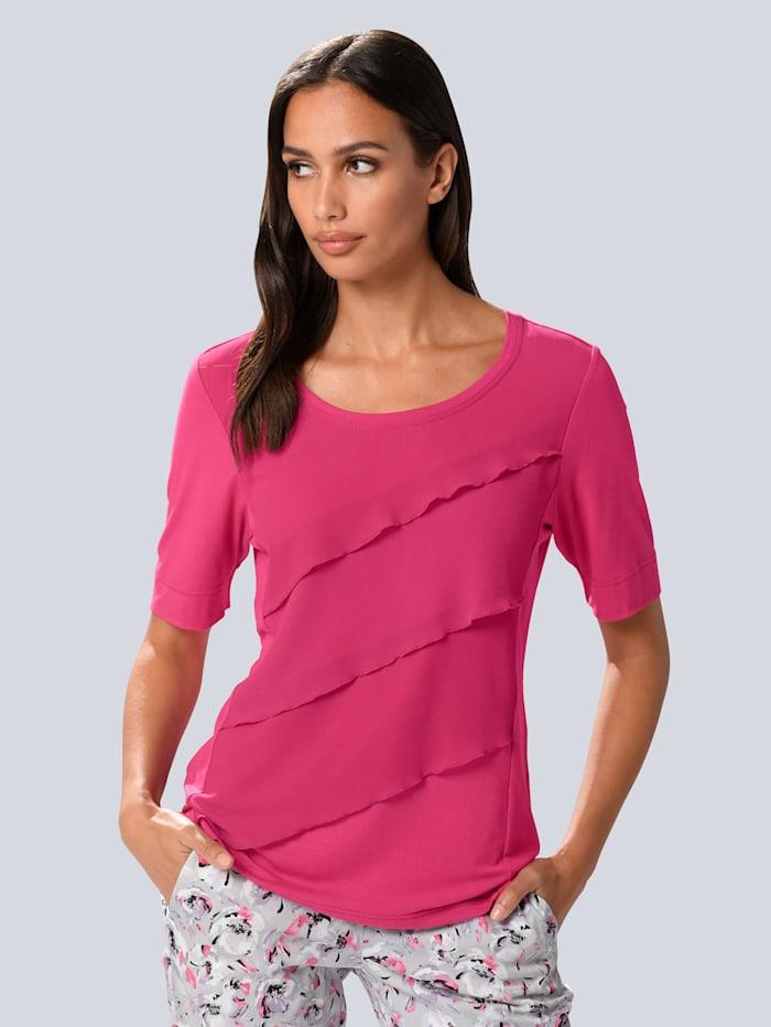 Alba Moda Shirt mit Chiffon-Volants, Pink