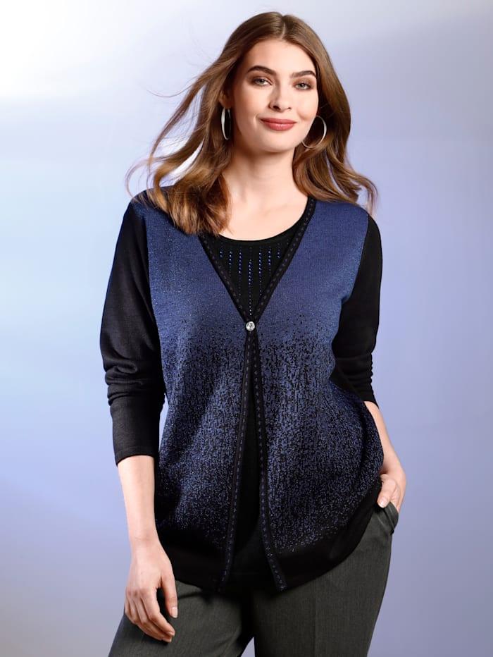 m. collection 2-in1-Pullover mit schönem Farbverlauf vorne, Schwarz/Royalblau
