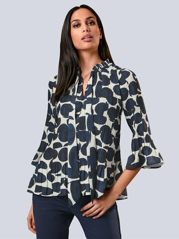 Alba Moda Bluse aus plissierter Ware, Marineblau/Off-white