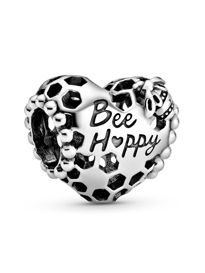 """Pandora Charm - """"Bee Happy"""" Waben-Herz - 798769C00, Silberfarben"""