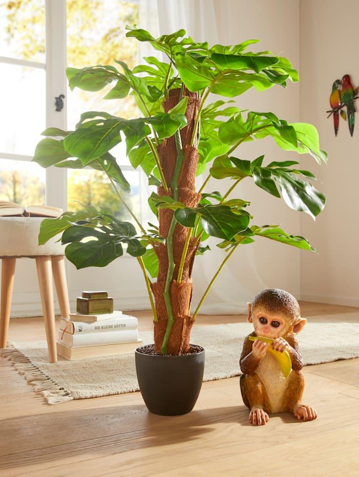 Dekofigur Affe mit Banane, braun