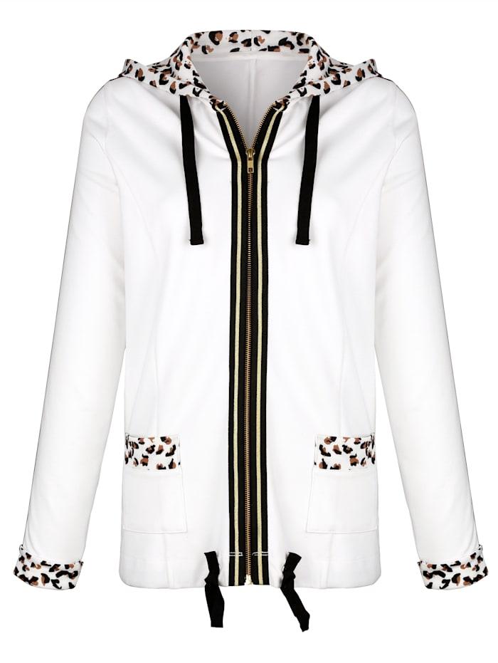 Sweatshirtjacka med leopardmönstrade detaljer