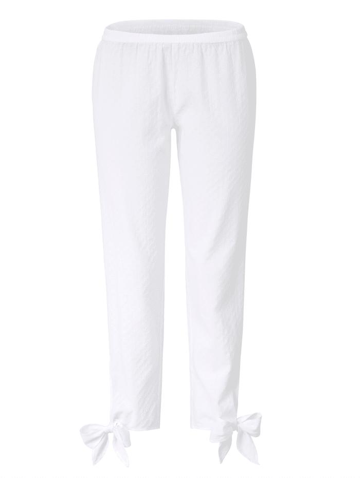 Mellow Peach Pyjama-Hose mit feiner Struktur, weiß