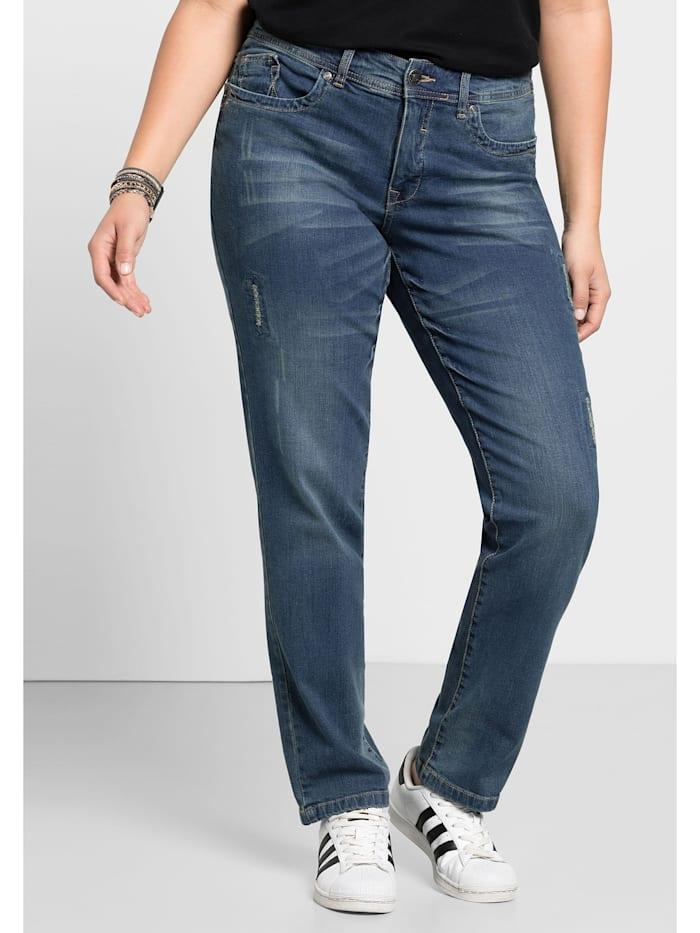 Sheego Jeans Mit Used- und Destroyed-Effekten, blue Denim