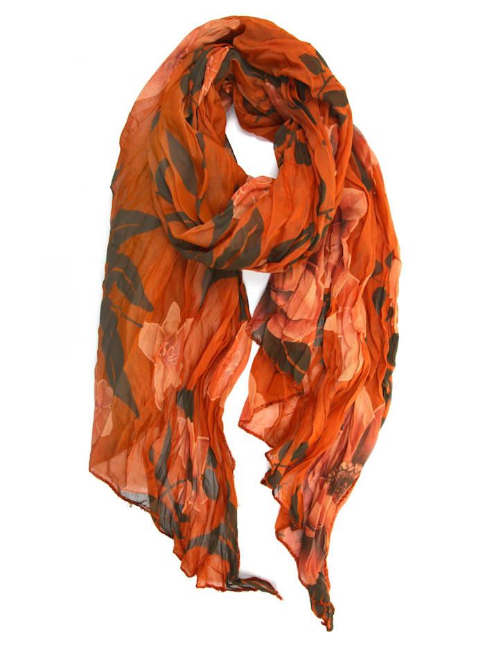 Collezione Alessandro Italienischer Schal Veerle mit floralem Muster, rost
