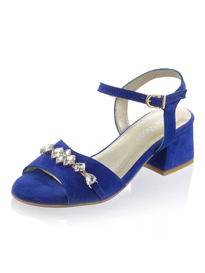 Alba Moda Sandalette aus weichem Veloursleder, Royalblau