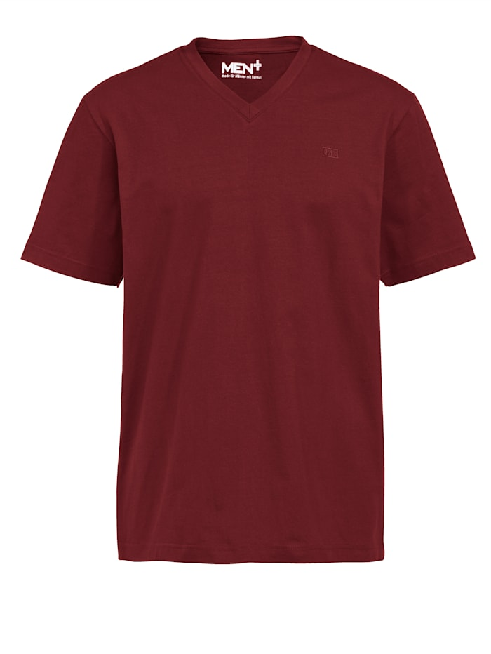 Men Plus Shirt met V-hals, Rood