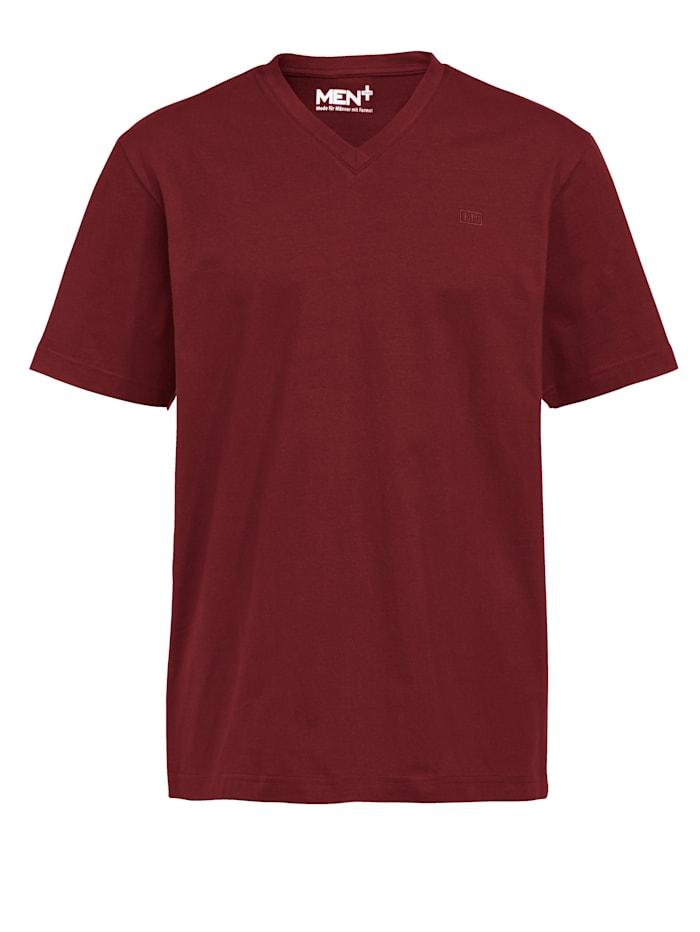 Men Plus Shirt met V-hals van zuiver katoen, Rood