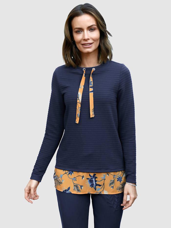 Sweatshirt mit bedrucktem Webeinsatz