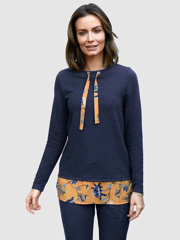 Sweatshirt met gedessineerde inzet van weefstof