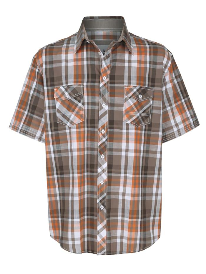 Roger Kent Overhemd met ingeweven ruitpatroon, Olijf/Oranje
