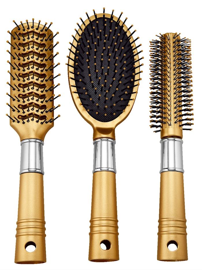 Lot de brosses à cheveux en tons doré et argenté