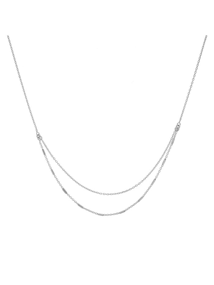 ZEEme Collier 925/- Sterling Silber 38+5cm Glänzend, weiß