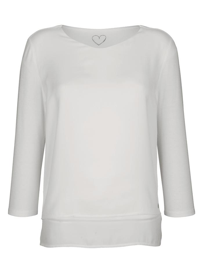 Shirtbluse in angesagtem Materialmix