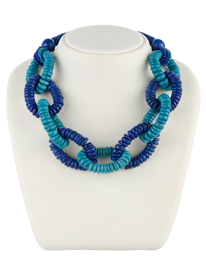 Halskette aus Holz, Blau