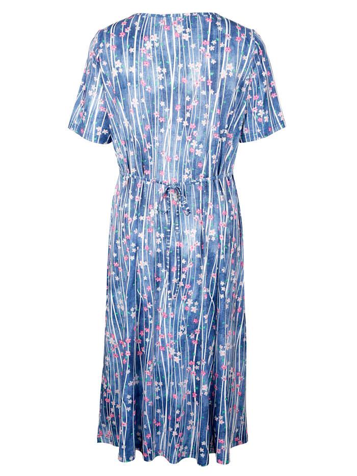 Jersey jurk met strepen en bloemen