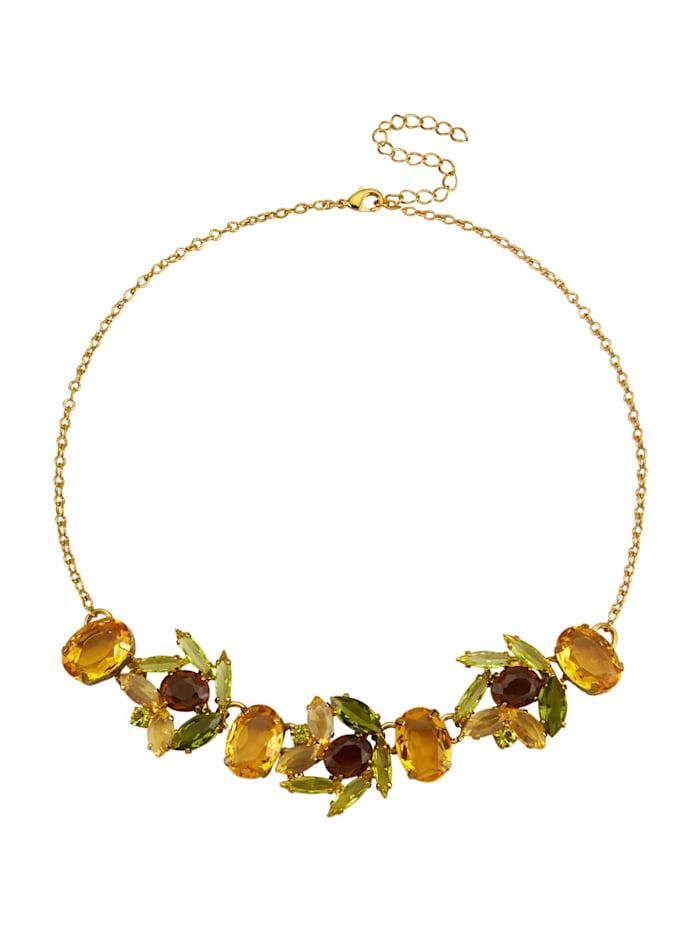 Golden Style Collier met kristalsteentjes, Geel